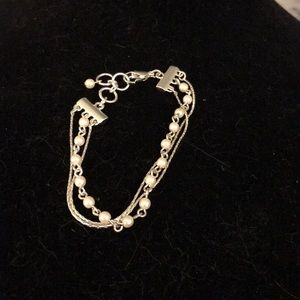 Silver chains with silver beads bracelet